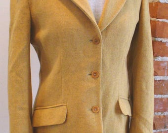 Vintage Brooks Brothers Maize Herringbone Tweed Jacket Made in Italy Size 4
