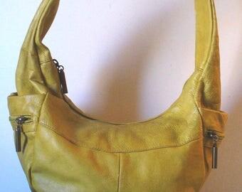 Avorio Made in Italy Mustard Yellow Hobo Bag