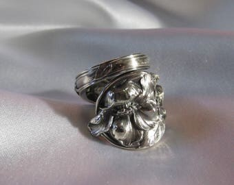 Spoon Ring Apple Blossom Flower Sterling Silver Antique Symbolic of New Adventures