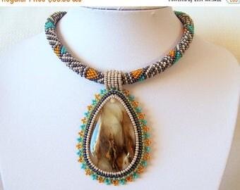15% SALE Beadwork Bead Embroidery Pendant Necklace with Cherry Quartz - TRANSPARENT DREAM statement necklace - hematite - turquoise - orange