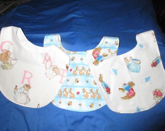 3 Peter Rabbit baby bibs, lined with a hook and loop closure in the back handmade