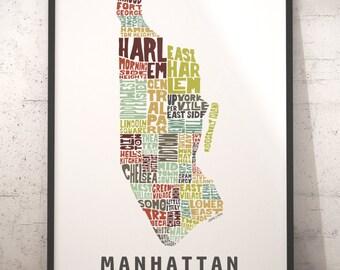Manhattan map art, Manhattan art print, Manhattan typography map, map of Manhattan, Manhattan neighborhood map with title