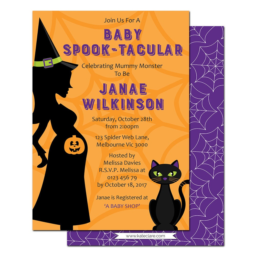Halloween Baby Shower Invitations - Printable - Halloween Baby ...