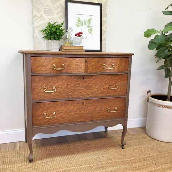 Antique Oak Dresser - Refinished Furniture - Serpentine Dresser - Vintage Chest of Drawers - Brown Dresser - Vintage Painted Furniture