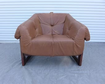 Percival Lafer Brazilian Rosewood Sling Chair Chocolate Brown Leather  Lounge Vintage Jacaranda Buckled Mid Century Modern