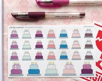 Planner Stickers - Birthday Reminders Set of 26