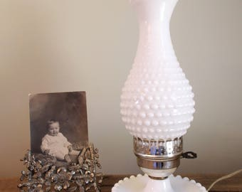 Electric Hobnail Milk Glass Hurricane Lamp