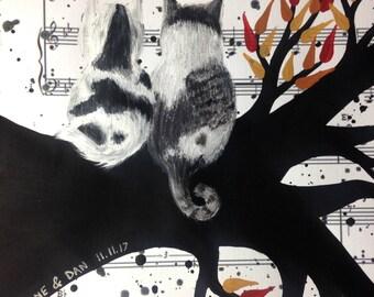Custom Cat Portrait Music Sheet Art  - Cat Painting, Cat Memorial Gift, Pet Sympathy Gift, Loss of Cat, Cat Lover Gift