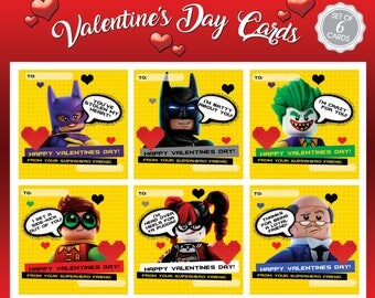 Lego Batman Movie Valentines Day Cards (Instant Download)
