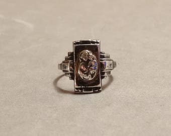 Vintage Antique Sterling Silver Ring Mother Mary and Baby Jesus Religious Catholic Christian Jewelry Size 6.25 Gift