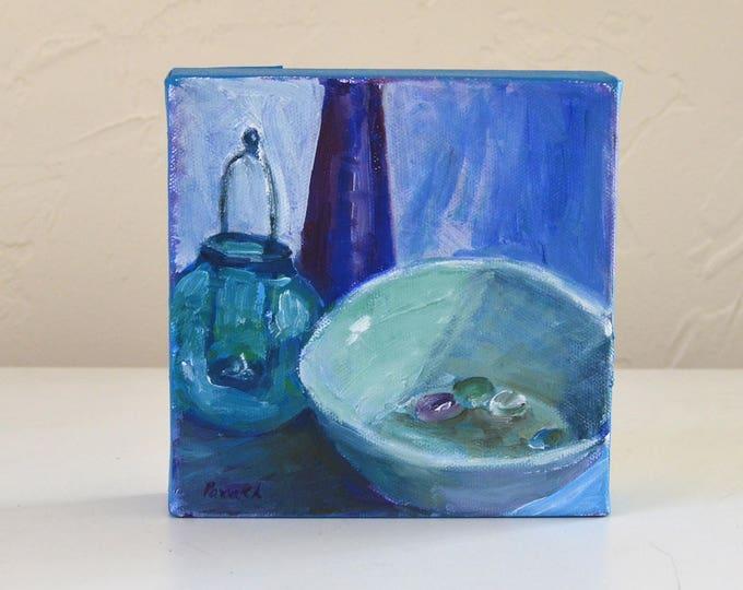 Still life oil painting,Blue bowl, Glass bottle, kitchen art, Gift under 50, Still life painting original, Small Blue painting, vanity decor