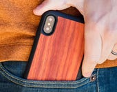 Wood iPhone X Case, Real Wooden iPhone X Case, Rosewood Case - SHK-R-X