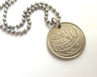 1990 Cayman Islands Coin Necklace with Sea Turtle - Stainless Steel Ball Chain or Key-chain