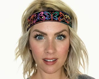 The Zinnia - Multi Colored Butterfly Boho Headband - Black - Limited Quantities!