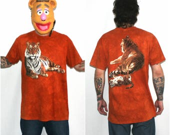Double Sided Tiger T Shirt. Bright Orange Tiger T Shirt. The Mountain Style Shirt. Jungle Cat Shirt. Tiger Gift. Ironic Hipster Tiger Shirt