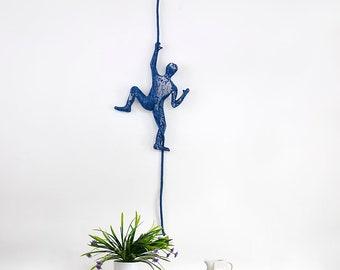 Climbing man on rope, Metal art sculpture, Contemporary wall art, 3d wall art, Wall hanging - Blue