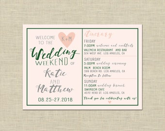 Printable Wedding Weekend Itinerary, Welcome Bag, Letter, Note, custom, guest bag