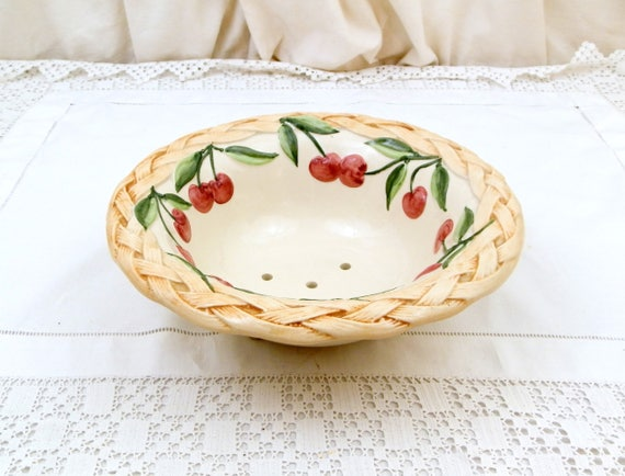 Vintage Majolica Style Pottery Berry Bowl With Cherry Pattern,  China Fruit Colander with Basket Motif, Ceramic Strainer Bowl with Holes