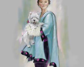 PRINT Nostalgic Glamour Westie Dog Art Vintage Fashion  Couture