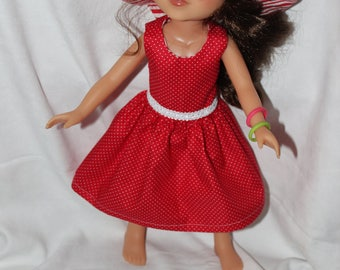 Red Polka Dot Dress and Red Striped Hat Included. Handmade to fit the wellie wisher and Heart to Heart doll Free Shipping