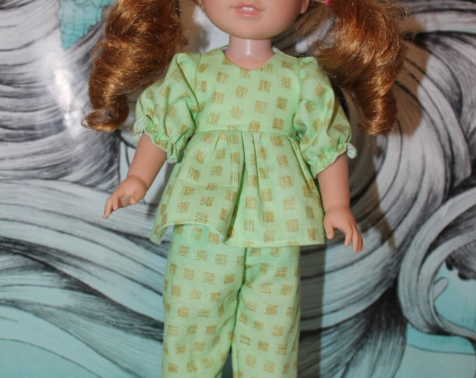 14.5 Doll Pajamas, Green Print Top, Pants and Slippers,Handmade to fit the likes of Wellie Wishers/Heart to Heart Dolls, FREE SHIPPING