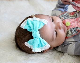 Aqua Nylon and Lace bow, headband set 1 size fits all, comfy baby newborn girls hair, teal blue