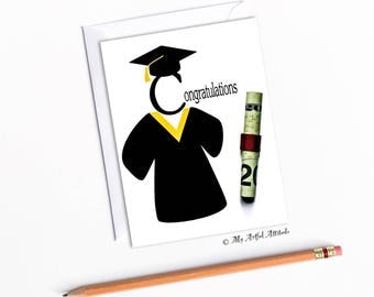 Congratulations Graduation Card, Money Holder Gift, Congrats Grad Cards For Him Or Her, Handmade Card