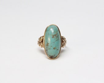 Victorian 10k Gold Turquoise Cabochon Ring - Outstanding Condition