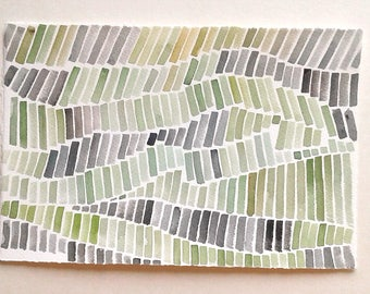 Watercolour painting original, Geometric art, Apple green and Gray composition, Minimalist Art, Geometric Artwork, Modern home, Home Gallery
