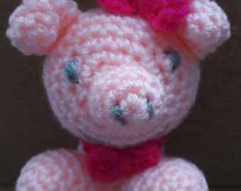 SALE - crochet pig soft toy-amigurumi toy pink pig-gift wrapped pig soft toy- pink pig plushie for baby shower