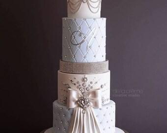 18 inch Champagne Gold Diamond Wedding Cake Stand