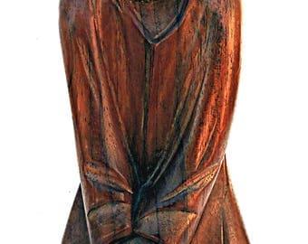 Religious Wood Carving Statue Mid Century Modern Kneeling Man Praying Sad Posture