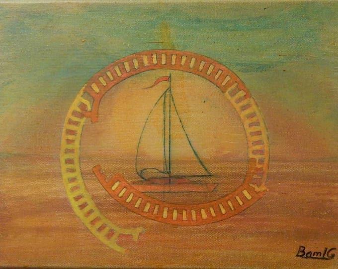 Desert Sail, small acrylic painting