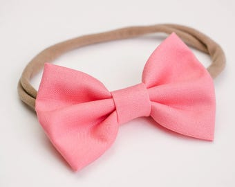 Valentine's Day Bows, Coral Pink Bows, Big Girl Bows,Fabric Bows, Hair Accessories, Bow Clip, Soft Headbands, Heart Bows