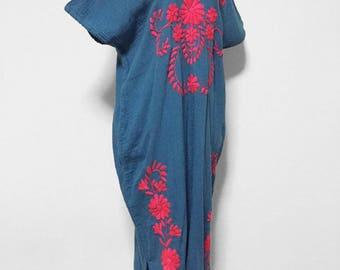 Handmade Dress Embroidered Cotton Dress In Blue, Women Long Dress, Boho Dress