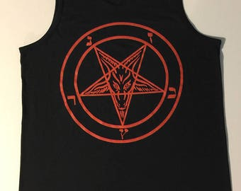 Pentagram Men's Black Tank Top- Witchcraft Evil Satan Wicca horror Occult clothing for witch or coven