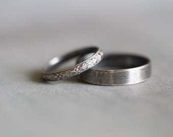 BECCA: Wedding Rings, Set, Wedding Bands, Sterling Silver, Botanical, Modern, Minimalist, His and Hers, Rustic, Bohemian,  Made To Order