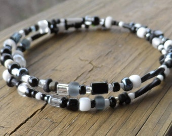 Black and White 2 Strand Memory Wire Bracelet