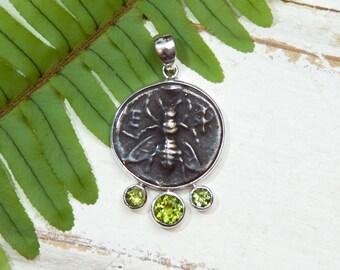 Honeybee Bee Pendant Necklace - Rustic - Peridot Gemstones -  Sterling Silver - coin pendant