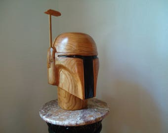 Boba Fett helmet - Star Wars Art - Wood Star Wars helmet - Wood carving - Boba Fett helmet - Wood sculpture - Original Art - Sci Fi, Artwork