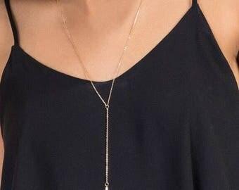 Lariat, Gold Lariat Necklace, Y Necklace, Gold Y Necklace, Lariat Necklace, 14kt Gold Filled Lariat, Gold Necklace, Layered Necklace