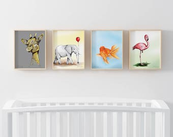 Adorable Animal Nursery Wall Art- Digital Prints Printable Digital Illustration