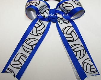 Volleyball Bow, Electric Blue Silver Bow, Volleyball Ponytail Holder, Volleyball Ties, Volleyball Blue Team Bow, Volley Ball Bulk Price Bows