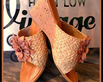 Vintage Camel Natural Raffia Cork Leather Wedges with Flower from Italy