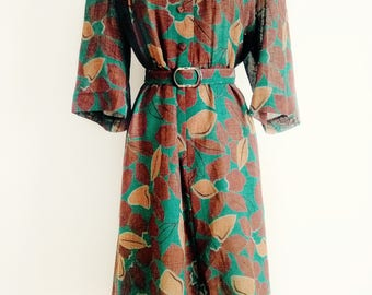 Earth Tone Leafy Vintage Dress With Belt