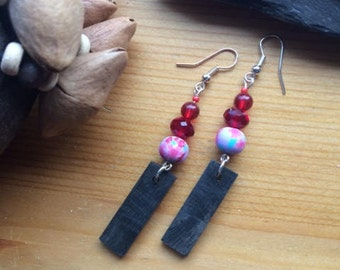 Pretty Irish Bog Oak earrings with Red Glass Beads