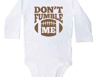 Football Onesie, Don't Fumble Me, Funny Football Baby Onesie, Newborn Football Clothing, Gray or White Short & Long Sleeve, Baby Onesie