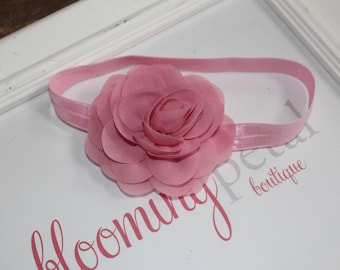 Dusty Pink Chiffon Flower Headband
