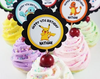 "Personalized Pokemon 2"" Scallop Birthday Cupcake Toppers Classroom Party"