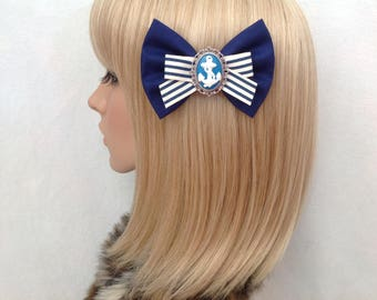 Navy blue stripe anchor hair bow clip rockabilly psychobilly ribbon rock punk pin up girl cute retro vintage nautical sailor fabric
